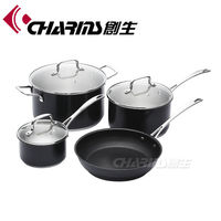 7PCS black cookware set stainless steel with factory price