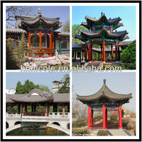 Chinese style roofing material clay unglazed roof tiles for pavilion