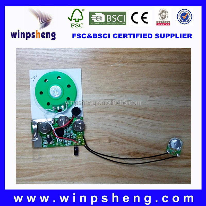 Mini recordable sound chip shining/mini recordable module for card