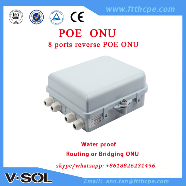 Reverse PoE 8FE outdoor use PD GEPON ONU