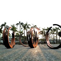 Hand Forged Contemporary Large Outdoor Corten Steel Garden Ring Sculpture Metal Modern Art