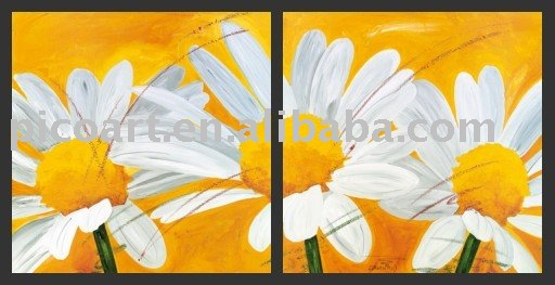 daisy flower group oil painting
