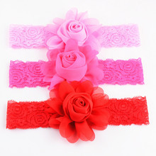 16 Colors in Stock New Stylish Girls Summer Shabby Flower Lace Headband Fit for Infant Kid 9cm