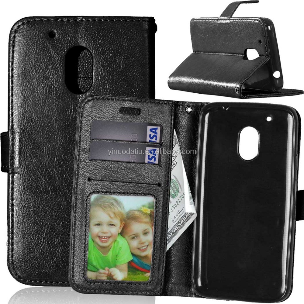 PU Leather flip with card slots case for Moto G4 Play , cover case for Moto G4 Play