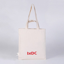 custom logo printing handle bag zipper canvas tote bag plain white Cotton shopping bag
