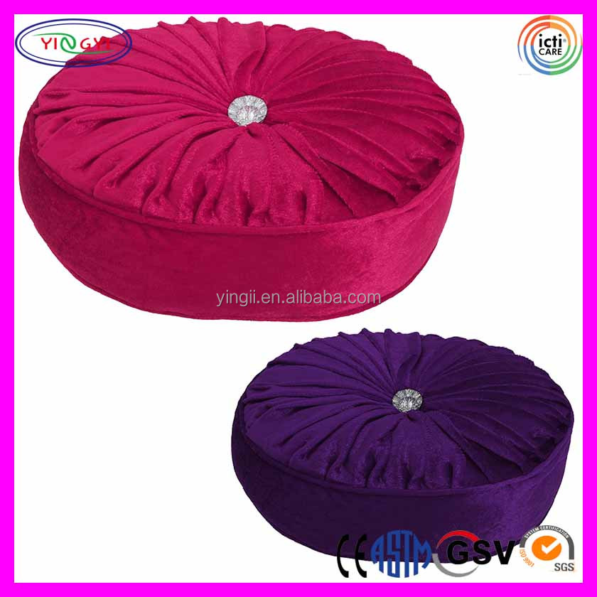 F103 Round Filled Diamante Button Cushion Floor Pillow Ruched Fabric Cushion Button