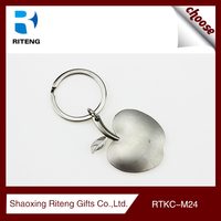 new arrival high quality date gift stainless steel apple shaped keychain
