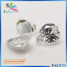 Facets Gems High Quality Synthetic Zircon Stone Prices Pear Cut White Topaz Rough