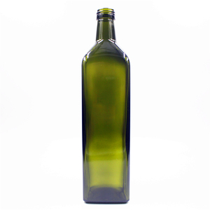 high quality durable square antique stocked dark green 1000ml olive oil bottle