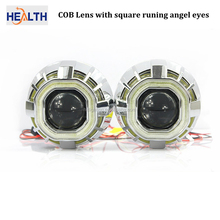 2016 Wholesale Dual color hid bi-xenon projector lens for car with square angel eyes