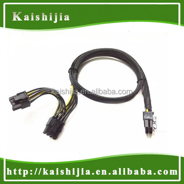 New 8Pin PCI-E Female to Dual 8(6+2)-Pin Power cable with UL 1007 18AWG wire