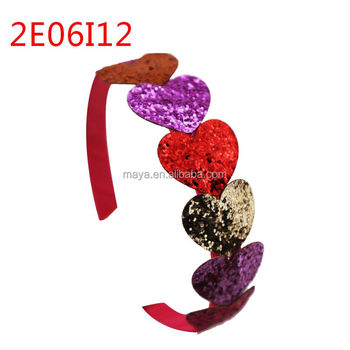 New design sweet girl 4 color shining peach heart headband with 1cm wide red plastic hair band