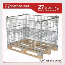 industrial stackable storage folding steel wire mesh cage containers