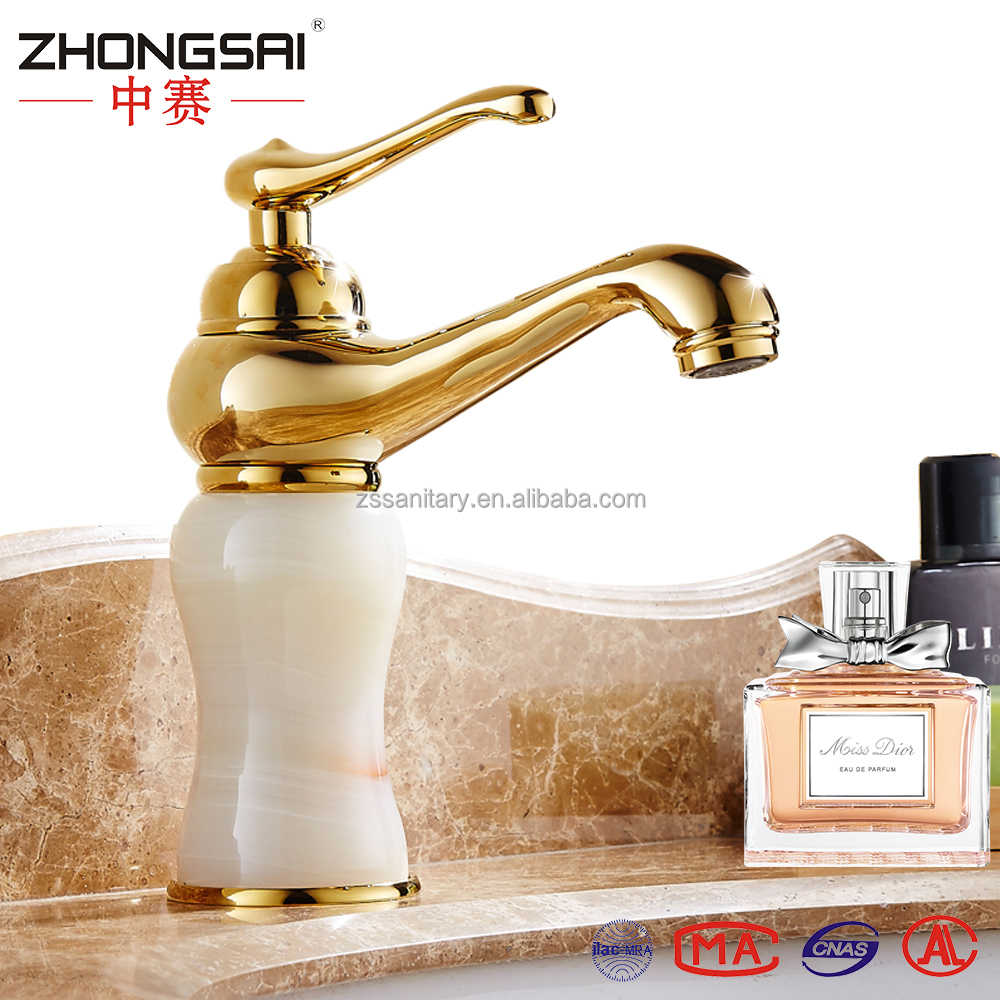 Bathroom Marble Single handle Basin Rose Gold Faucet with Hot and Cold