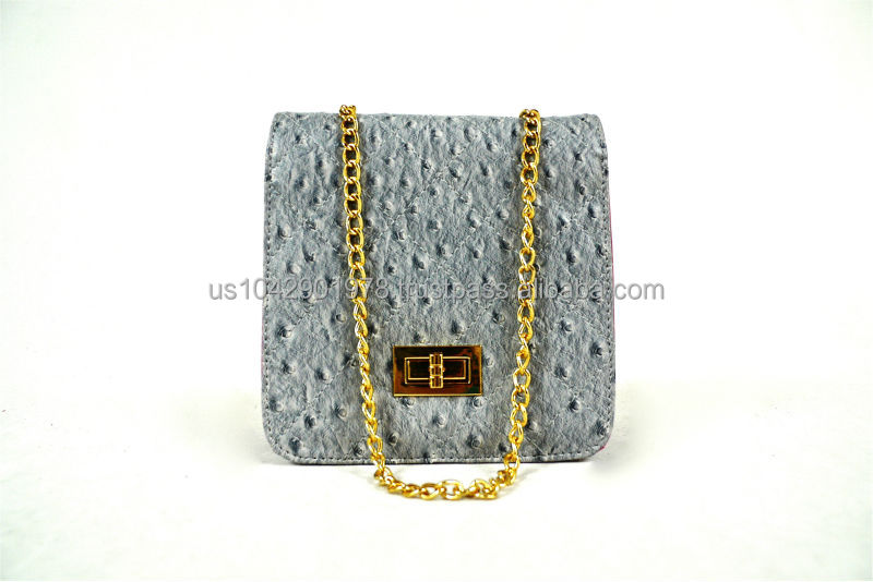 Handmade Synthetic Leather Ostrich Embossed Women Gold Chain Shoulder Crossbody Clutch Handbag Gray