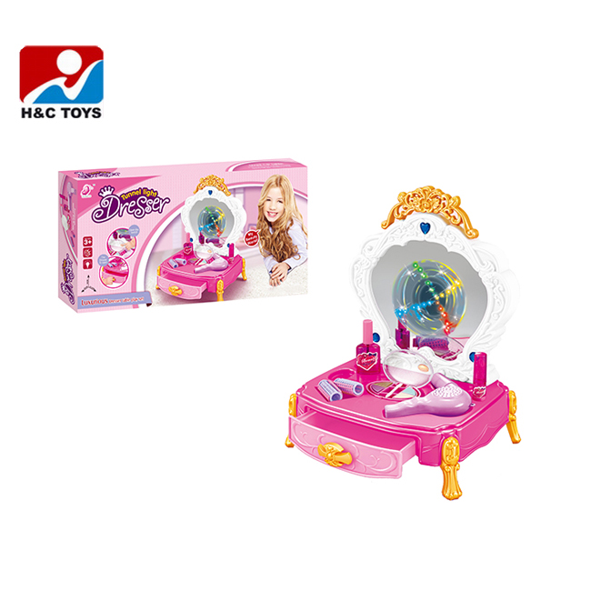 High Quality Girls Play Sets Plastic Children Mini Dressing Table Toy HC304332