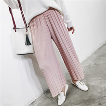 2017 New Spring Korean high waist pleated loose women's casual pants nine points chiffon wide leg pants trousers 6781