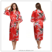 8 Colors High Quality Long Peacock Bride Kimono Robe Stain Night Dress