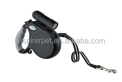 Black Retractable Dog/Pet Leash with LED Light