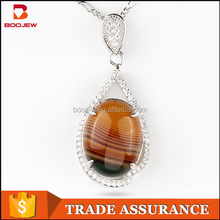 Guangzhou wholesale natural chalcedony stone 925 silver necklace pendant jewelry