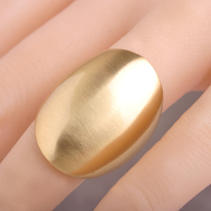 Blucome Dubai Party Wedding Anniversary Jewelry Big Wide Women Men Cocktail Bridal Gold Smooth Metal Ring
