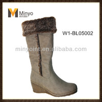 Minyo PU woman winter wedge knee high boots with Fur and zipper