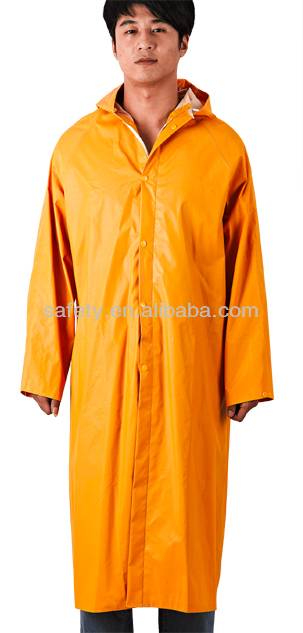 PVC Polyester 0.32mm 0.35mm Yellow Rain Coat Long Rain Cover Rubbered Hooded Raincoat