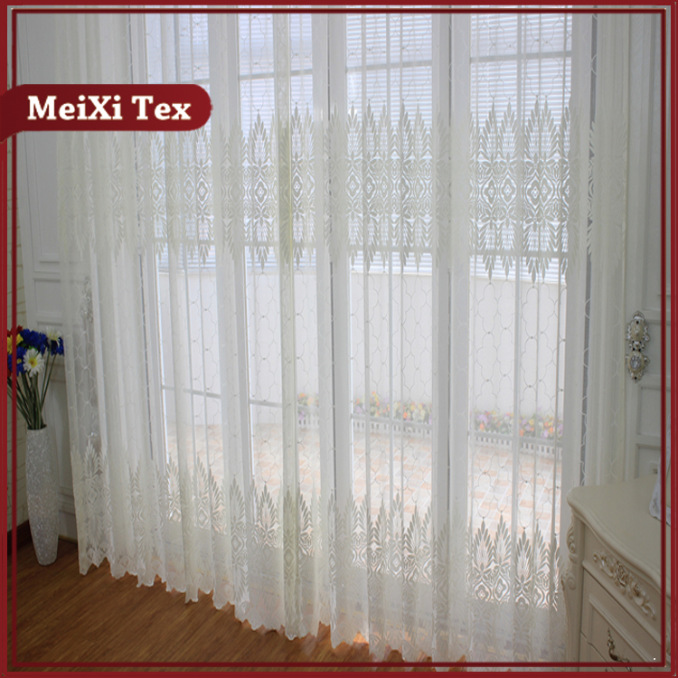 leaf design jacquard curtain fabric material,knit lace curtain pattern,circular knitted fabric curtain jacquard set