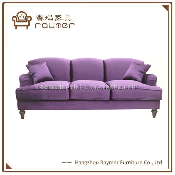 Raymer new design modern purple hotel furniture armed contemporary sofa