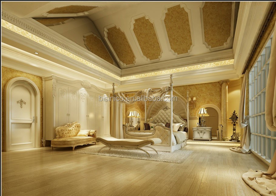 Luxury 3D Interior Design in European Style of Master Bedroom with Complete Furnitures and Decoration Items