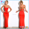 wholesale plus size women clothing red V-Neck Bodycon Maxi Dress apparel