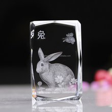 Lovely rabbit 3d laser engraved lead crystal glass cube
