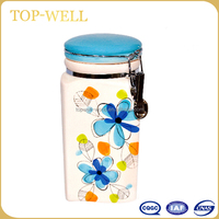 Cheap ceramic hand-painted flower storage jar