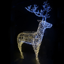 Santa Claus led outdoor Christmas light sculptures led 3D deer motif light for Shopping Mall Decoration