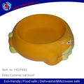 ceramic cat shape pet feeder with yellow color ,hot sell new design for cat bowl