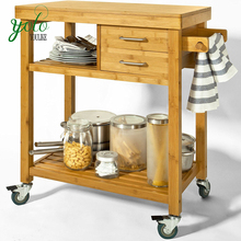 Serving Cart Storage Bamboo Kitchen Trolley with drawer shelves