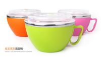 Stainless Steel soup bowl/double insulation plastic noodle cup with lid Japanese bowl set