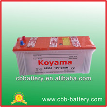 cheap dry charged battery manufacturer in China 62534-12v125Ah truck battery manufacturer in China