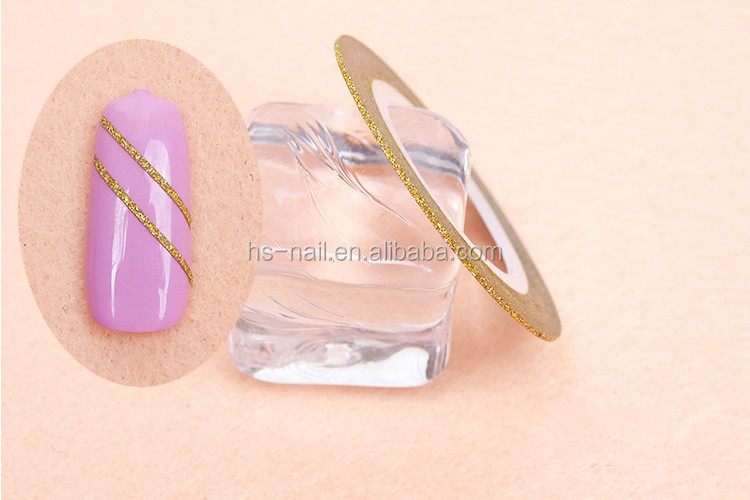 2016 newest hot selling DIY Nail art glittle stripping tape Nail decoration sticker line metalic yarn