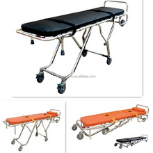 medical stainless steel frame folding mortuary stretcher