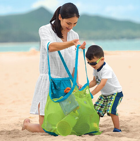 kids folding mesh beach bag stay away from sand