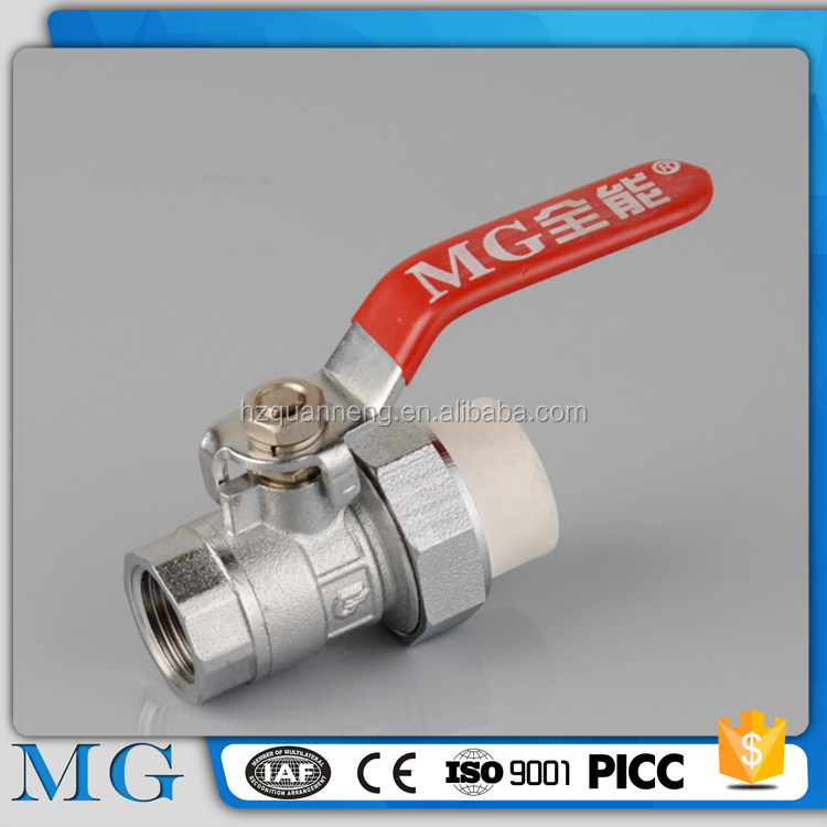 wholesale high pressure resistant ppr stop ball valve for water or gas systerm cw617n brass valve ppr ball valve with brass bal