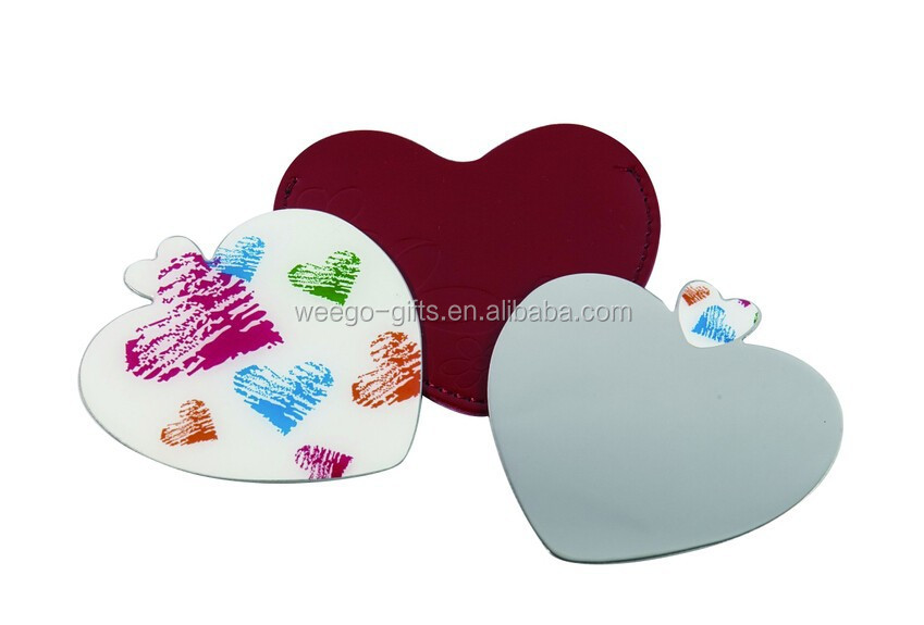 2015 customized heart shaped stainless steel mirror ,gifts for wedding guest