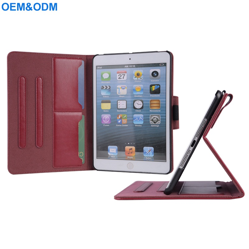 PU Leather Flip Wallet Case Cover For iPad Mini 3 With Pencil Holder Magnet Buckle 2 Card Slot 2 Standing Positions Univeral PU