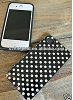 Soft Plastic Silicone Hybrid Colorful Polka Dot Pattern Case for iPhone 4 4S colorful