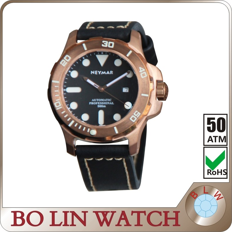 2013 dive watches for men leather watch strap super luminous diving watch