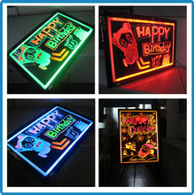 Tempered glass RGB5050 high brightness outdoor neon advertising blackboard led writing board glass for restaurants