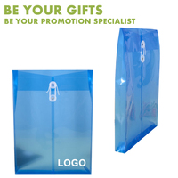 Promotional Custom Logo A4 size Clear Red Blue Expanding plastic file Envelope folder with string