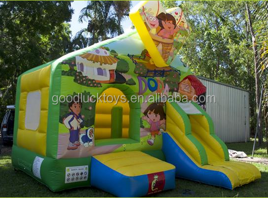 inflatable dora and diego bounce house, inflatable dora the explorer bouncer, en14960 jumping castle