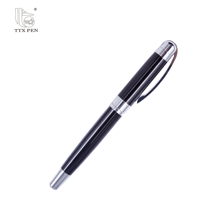 New design quality black color luxury metal material fountain pen with epoxy logo